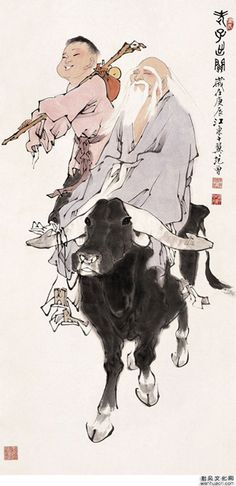 mr. laotze on his ox, with a friend